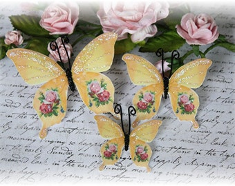 Victorian Rose Butterfly Die Cut Embellishments for Scrapbooking or Cardmaking, Tag Art,  Mixed Media, Mini Albums