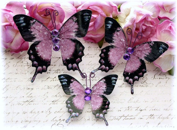 Lady Lavender Glitter Glass Butterflies for Scrapbooking, Cardmaking, Tag Art, Mini Album, Wedding, Altered Art