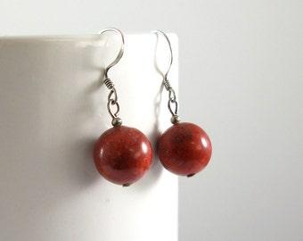 Red Coral Hanging Earrings, Dangle Earrings, Stone Earrings, Red Dangling Earrings