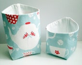 English Teacups, Teapots and Sugar Cubes Storage Baskets