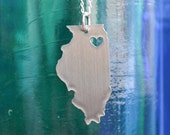 Chicago Illinois Love Pendant on 18inch Chain