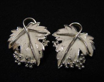 """Vintage 1962 Sarah Coventry """"Whispering Leaves"""" White Enameled Leaf Clip Earrings"""