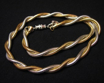 Vintage Gold and Silver Plated Twisted Double Snake Chain Necklace