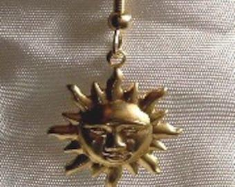 Men's earrings Stamped Brass Sun Single Men's Earring CLEARANCE!
