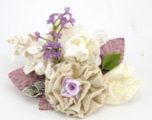 Boutonniere, Brooch, Groom, Corsage, Mother of the Bride, Button Hole, Ivory, Cream, Lilac, Linen, Pearls, Rustic, Vintage Wedding