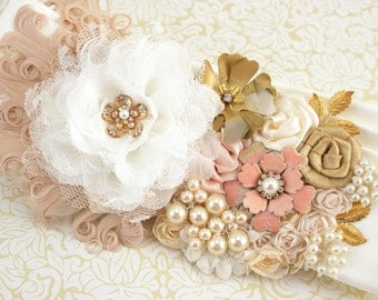 Wedding Sash, Bridal, Ivory, Blush, Cream, Gold, Elegant Wedding, Vintage Style. Gold Brooch, Feathers, Crystals, Pearls, Lace, Gatsby