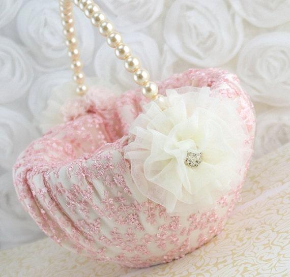 Flower Girl Basket Blush : Flower girl basket pink blush ivory cream lace by