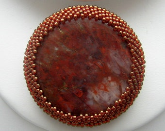 Petrified Wood Pin - Stone Brooch - Beaded Stone Brooch - Beaded Pin - Red White Gold