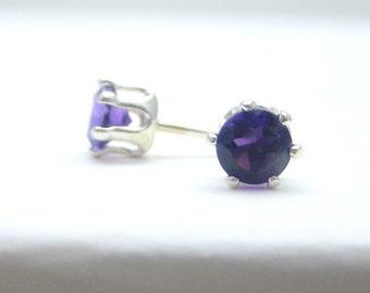 Amethyst Sterling Silver Stud Earrings - Post Earrings - Birthstone Earrings - 6 Prong - 4 mm Gemstone