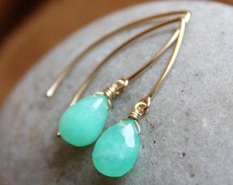 Gold Mint Green Chrysoprase Gemstone Earrings - Mint green - 14Kt Gold fill