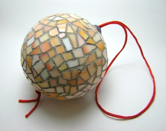 Mosaic Handmade Ornament Ball - Christmas Tree and Home decor - orange pink glass tiles