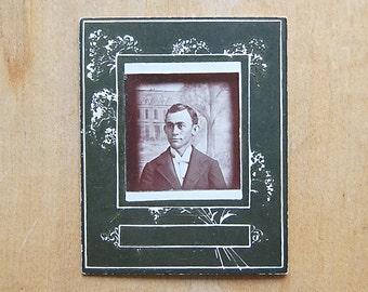 Antique Photo Collectible Studio Portrait of Fashionable Man Set on Green Carte de Visite.