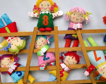 Little Counting Dolls fabric doll sewing pattern learning toy - INSTANT DOWNLOAD