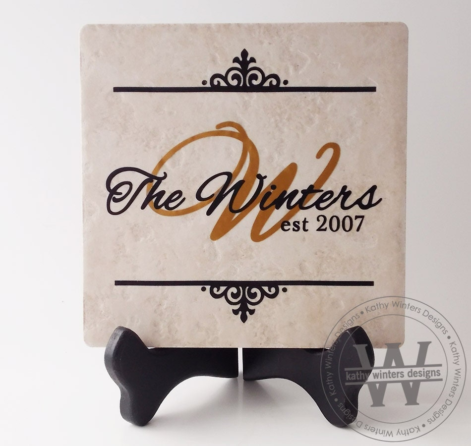 Personalized Ceramic Tile With Vinyl Lettering 1c