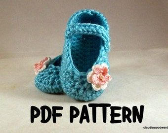 A7 Crocheted, Baby Girl,  Mary Jane, Baby Shoe, PATTERN, PDF