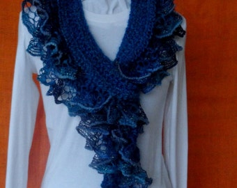 Crochet Scarf Pattern, Crochet Scarf with Ruffle Yarn Edging, Patterns for Sashay Yarn, Easy to Follow Pattern for Crocheted Ruffle Scarf