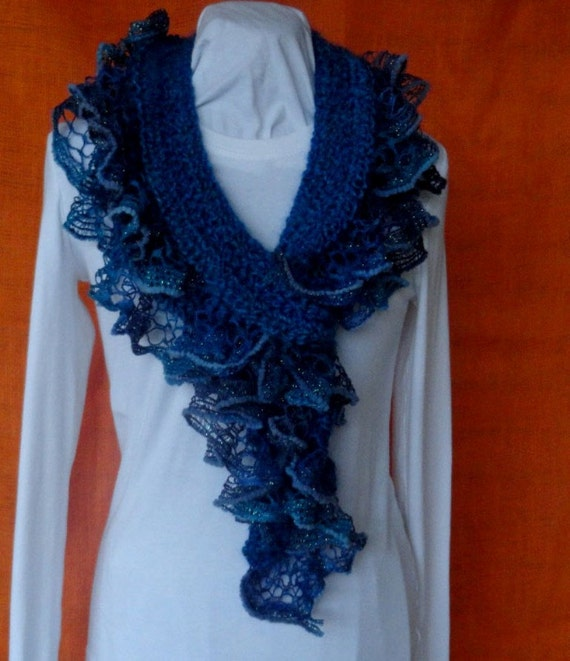 Crochet Patterns Ruffle Scarf : Crochet Pattern - Crochet Twirl Scarf with Ruffle Yarn Edging