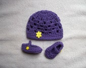 American Girl Doll Crocheted Purple/Yellow Beanie Hat and Shoes