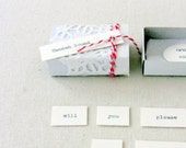 Bridesmaid invitation  -  matchbox message  - doily and bakers twine