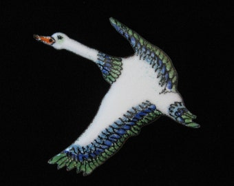 Enamel on Copper Goose or Loon in Flight Brooch
