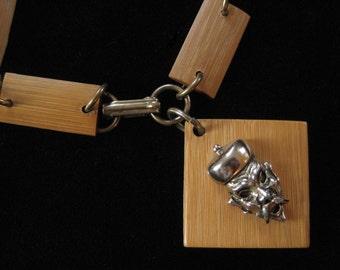 Genuine Bamboo Asian Charm Bracelet with Single Charm