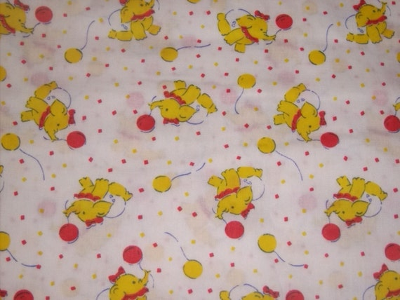 Baby fabric yellow elephant with diaper balloon and bow for Yellow baby fabric