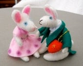 Two Easter Bunnies  in Love Needle Felted White Rabbits with Heart  All You need is Love, Handmade Gift for under 40 dollars