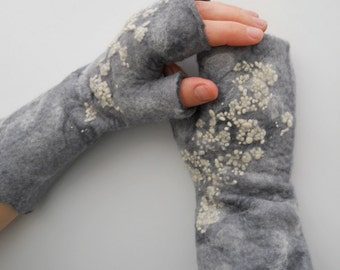 "Fingerless Gloves  ""Winter Weather""  Mittens Pure Merino Wool Hand Felted Arm and Hand Warmers"
