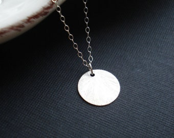 Silver Coin Necklace White Modern Minimalist Necklace Everyday Jewelry Brushed Sterling Silver Coin Pendant Gift For Her Under 25