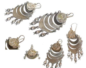 Free Shipping Long Ethnic Vintage Dangling Earrings Fish Charms