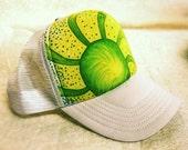 40% OFF- Sun Design White Trucker, Yellow Sun Trucker Hat, White Trucker Cap