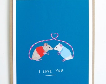 I Love You Mouse - Illustrated Art Print