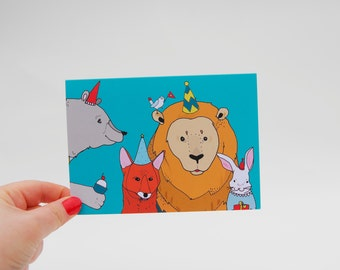 Party Animals Lion Card