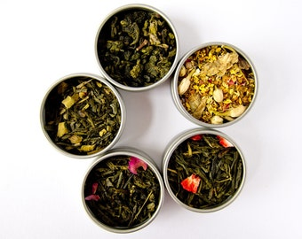 You Pick Tea Sampler - 5 Flavors - Green Tea, Oolong Tea, Black Tea, Yerba Mate, Tisanes, Flowers, Pu erh