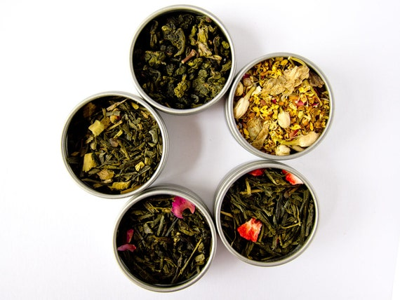You Pick Tea Sampler - 5 Flavors - Green Tea, Oolong Tea, Black Tea, Yerba Mate, Tisanes, Flowers, Pu erh