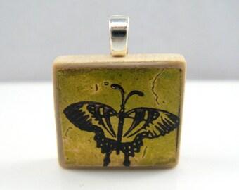 Yellow green butterfly - Glowing metallic Scrabble tile pendant