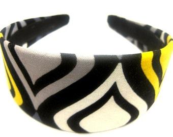 Black Yellow White Headband 2 Inch