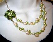 Bridal Green FW Pearl Cluster Necklace Rhinestone Flower + earrings  Set