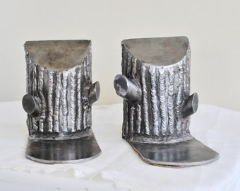 Vintage Tree Stump Metal Bookends, Modern Rustic Bookend, Handmade Silver Metal Bookends, Nature Library, Garden Library, Wedding Bookends