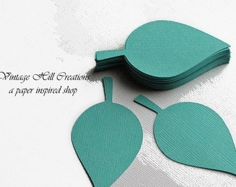 50 Paper Leaf, 4 inches - Leaves, Navajo - Turquoise - Wedding Place Card, Escort Card, Die Cut Tags