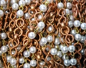 3 Feet Vintage Copper Chain and Faux Pearls, 1950s - Unique infinity links - infinity chain