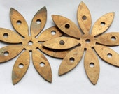 4 Vintage 1960s Antiqued Brass Daisy Stampings