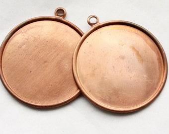 3 Vintage 1960's Copper Disk Pendants