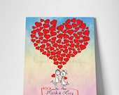 Alternative Wedding Watercolor Guestbook Couple in love on canvas 100 signature on the hearts Available as a poster on paper
