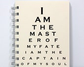 Journal Notebook Diary Sketch Book - Master of My Fate - Eye Chart Style - Small Notebook 5.5 x 4.25 Inches - Ivory