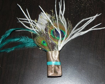 Teal boutonniere, feather peacock boutonniere