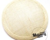 Ivory Round Millinery Sinamay Hat Base for Fascinators, Cocktail Hats and Wedding Veils