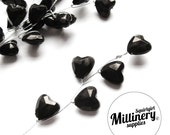 6 Black Heart Acrylic Bead Picks on Silver Wire for Millinery and Wedding Flower Bouquets