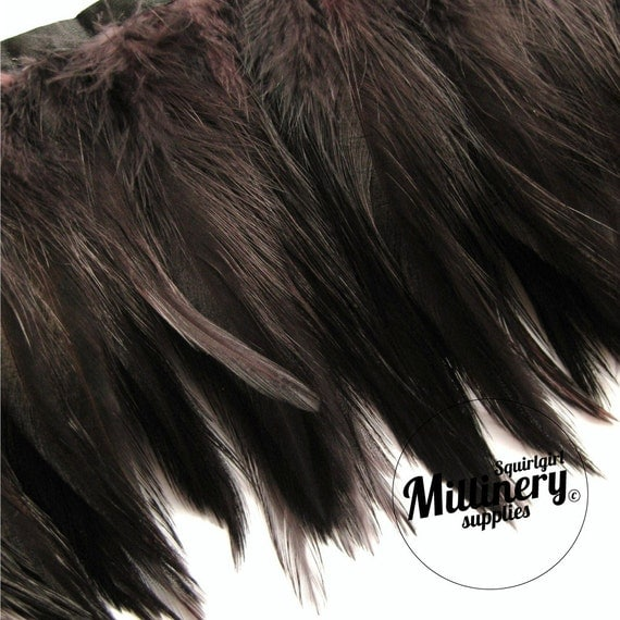 Dark Brown Hackle Feather Fringe for fascinators, millinery and crafts  (Around 60 feathers)