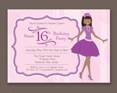 Crowned Teen with Bangs - Birthday Party Invitations - African American